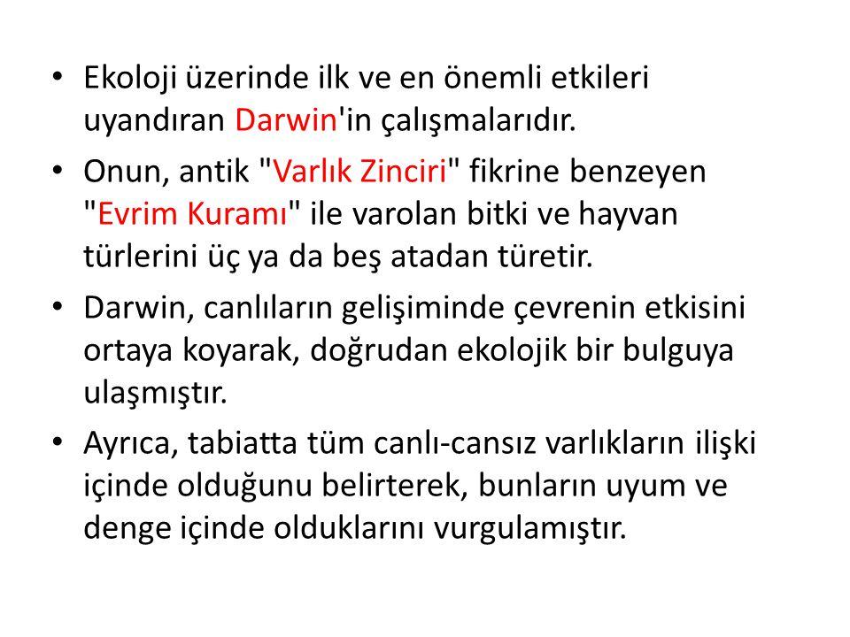 Ekoloji üzerinde ilk ve en önemli etkileri uyandıran Darwin in çalışmalarıdır.