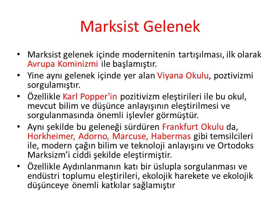 Marksist Gelenek Marksist gelenek içinde modernitenin tartışılması, ilk olarak Avrupa Kominizmi ile başlamıştır.
