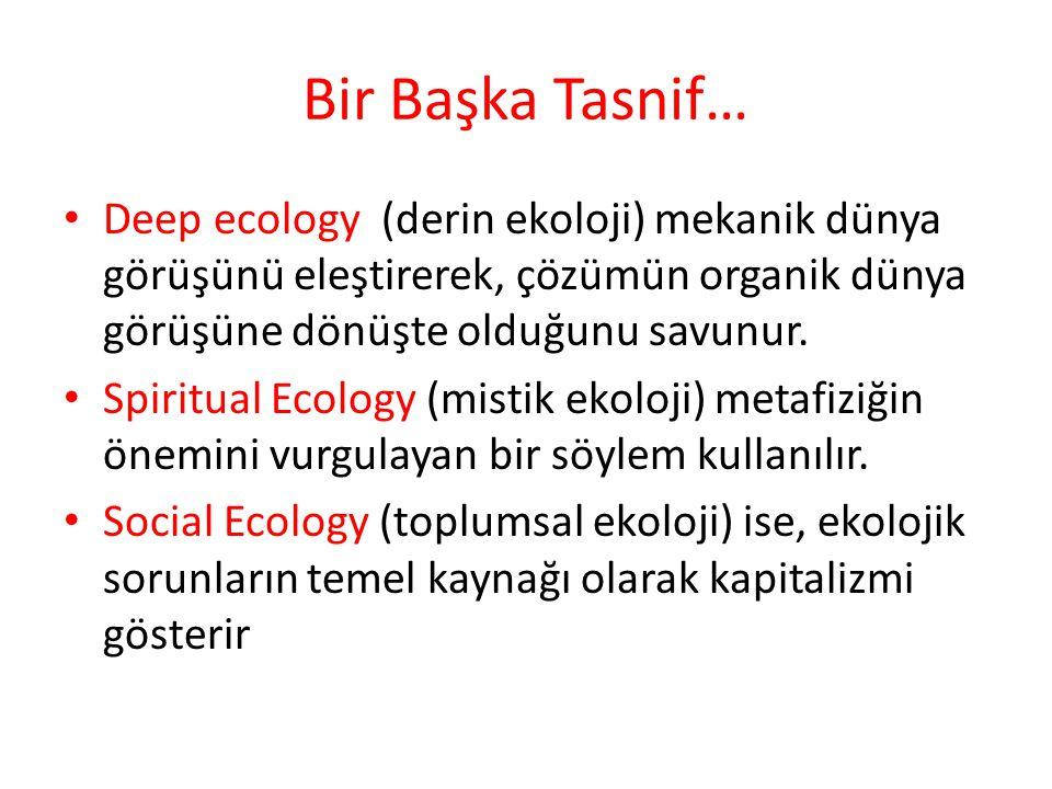 Bir Başka Tasnif… Deep ecology (derin ekoloji) mekanik dünya görüşünü eleştirerek, çözümün organik dünya görüşüne dönüşte olduğunu savunur.