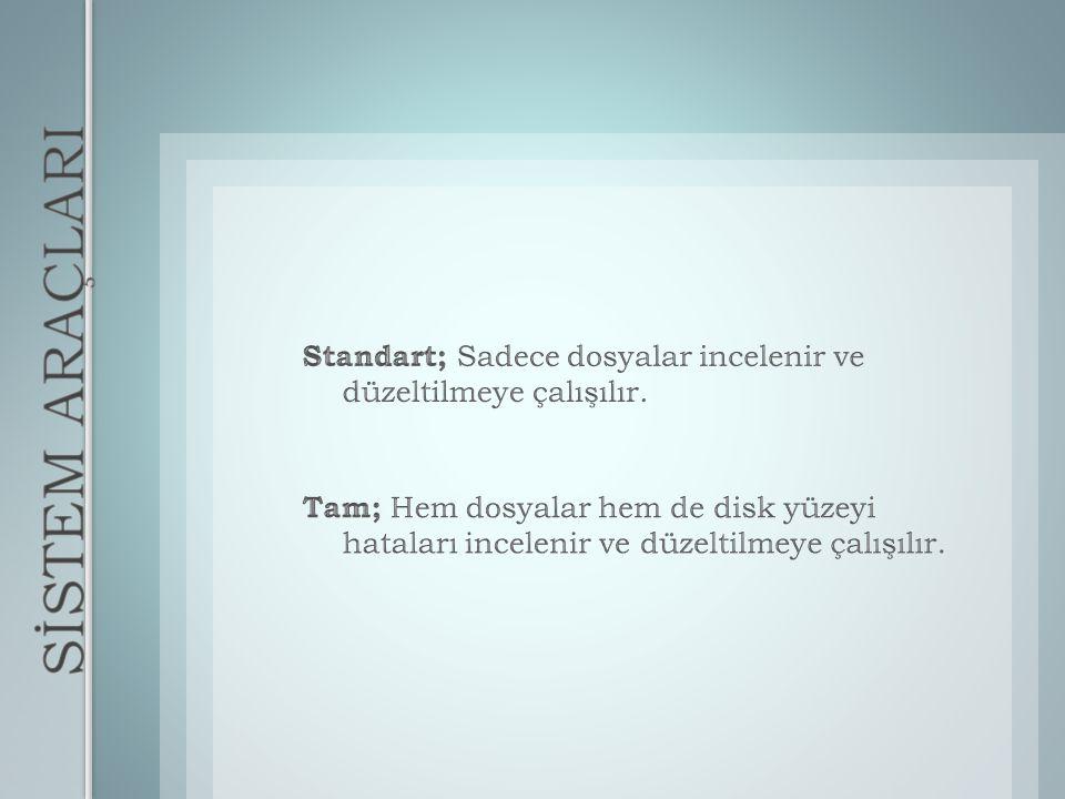 Standart; Sadece dosyalar incelenir ve düzeltilmeye çalışılır.