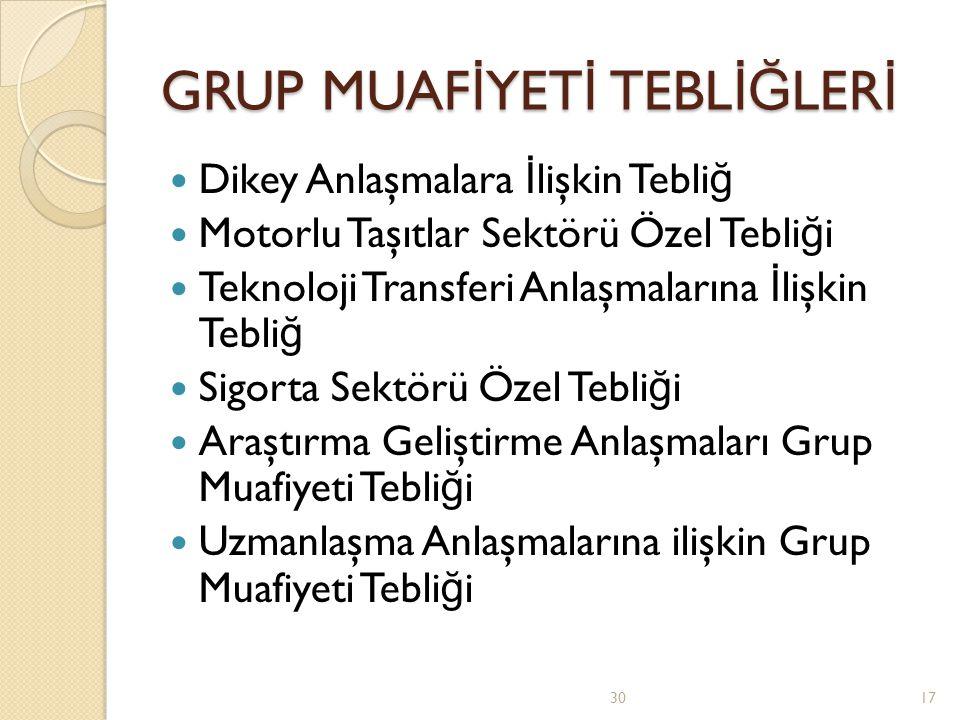 GRUP MUAFİYETİ TEBLİĞLERİ