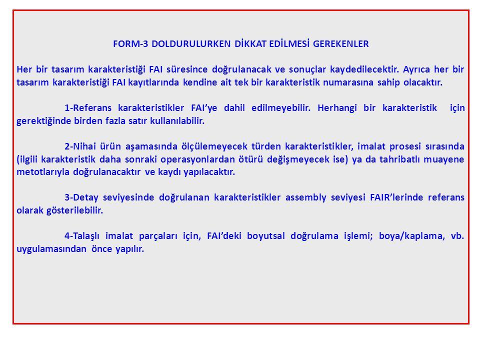 FORM-3 DOLDURULURKEN DİKKAT EDİLMESİ GEREKENLER