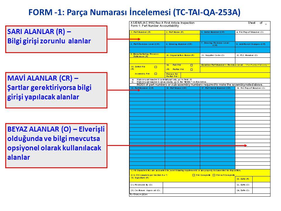 FORM -1: Parça Numarası İncelemesi (TC-TAI-QA-253A)