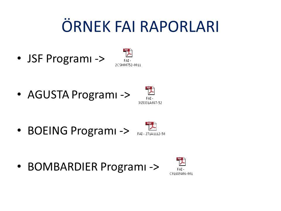 ÖRNEK FAI RAPORLARI JSF Programı -> AGUSTA Programı ->