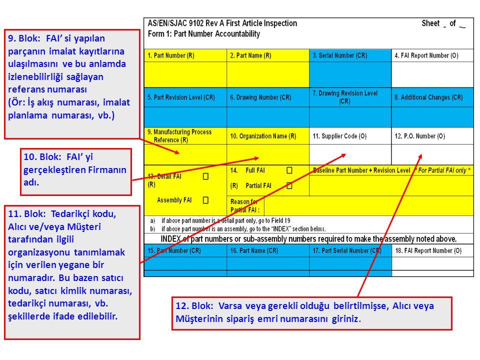9. Blok: FAI' si yapılan parçanın imalat kayıtlarına ulaşılmasını ve bu anlamda izlenebilirliği sağlayan referans numarası