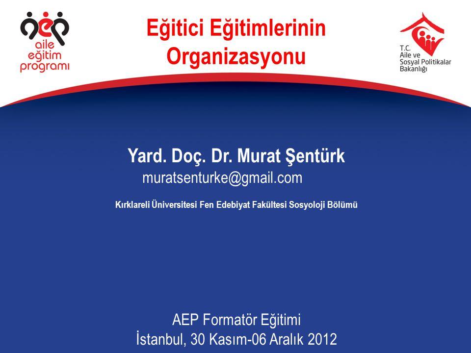 Eğitici Eğitimlerinin Organizasyonu