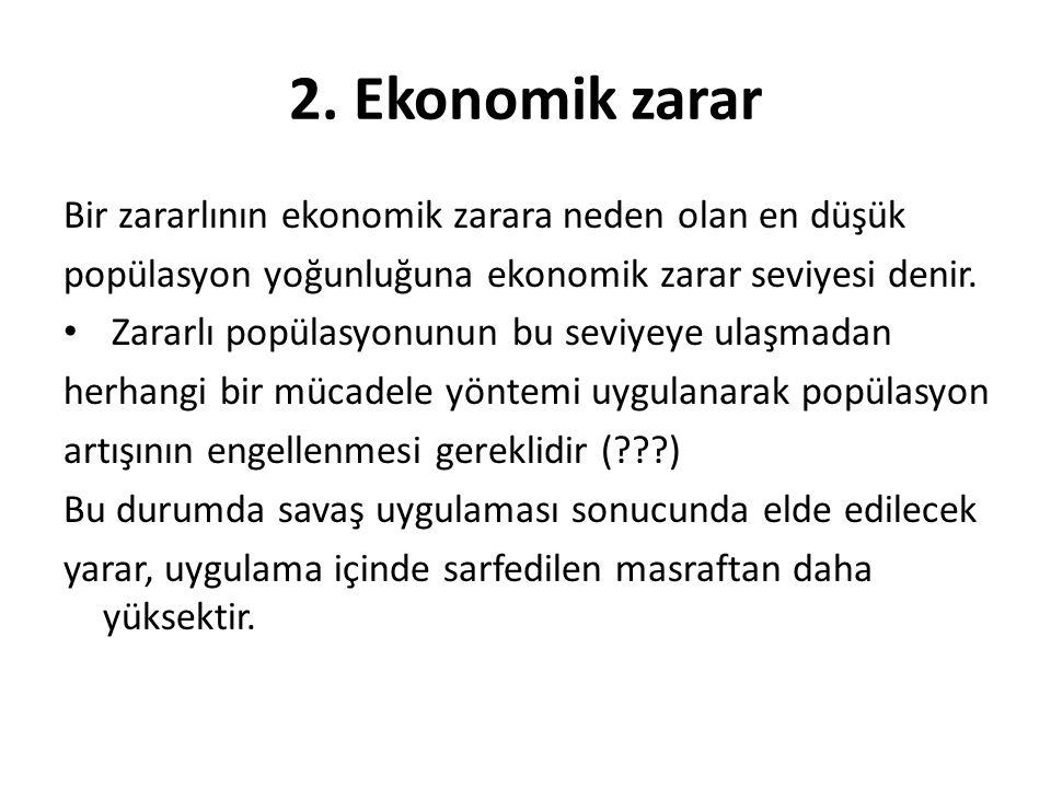 2. Ekonomik zarar Bir zararlının ekonomik zarara neden olan en düşük