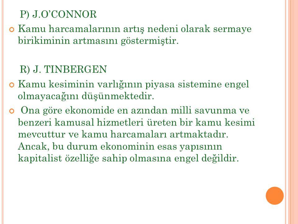 P) J.O'CONNOR Kamu harcamalarının artış nedeni olarak sermaye birikiminin artmasını göstermiştir. R) J. TINBERGEN.