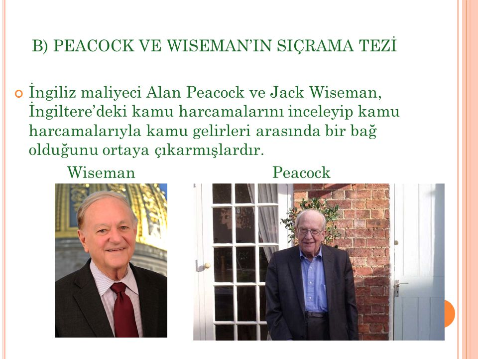 B) PEACOCK VE WISEMAN'IN SIÇRAMA TEZİ