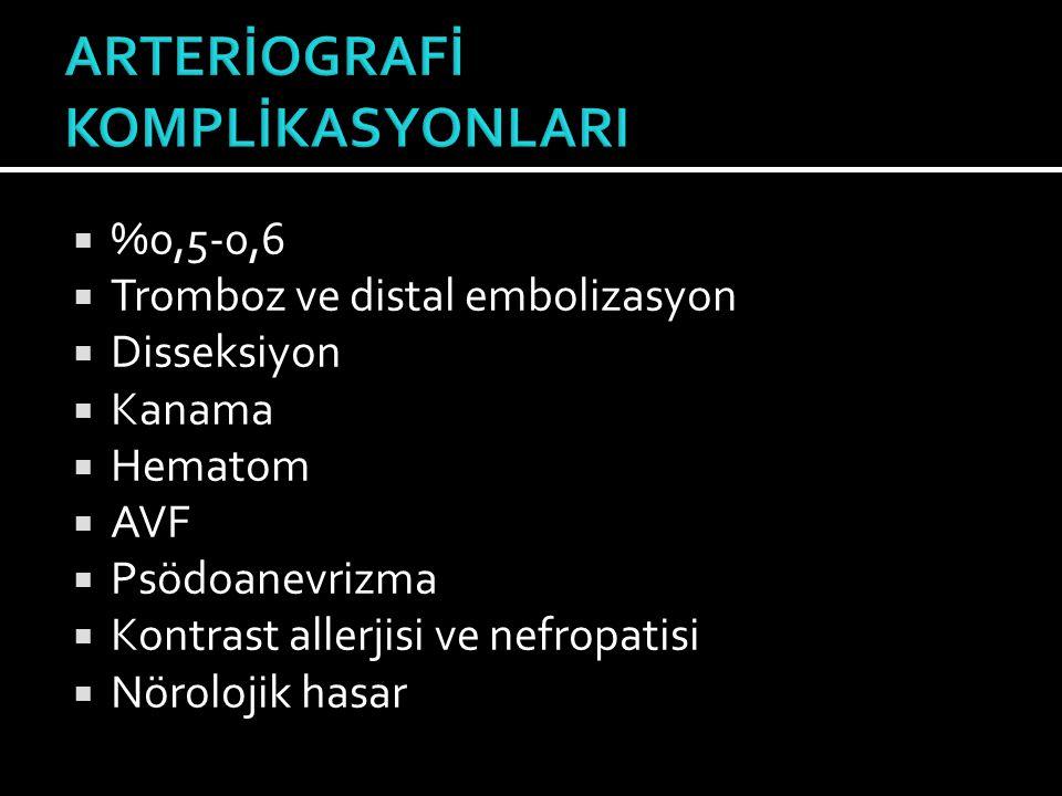 ARTERİOGRAFİ KOMPLİKASYONLARI