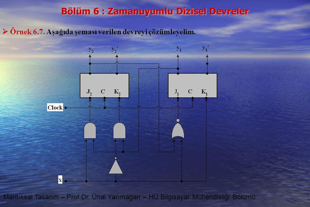 Örnek 6.7. Aşağıda şeması verilen devreyi çözümleyelim.