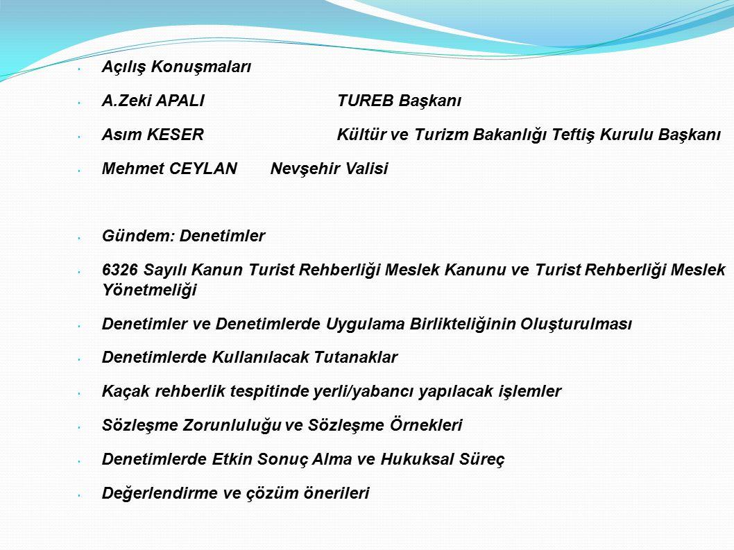 Açılış Konuşmaları A.Zeki APALI TUREB Başkanı. Asım KESER Kültür ve Turizm Bakanlığı Teftiş Kurulu Başkanı.
