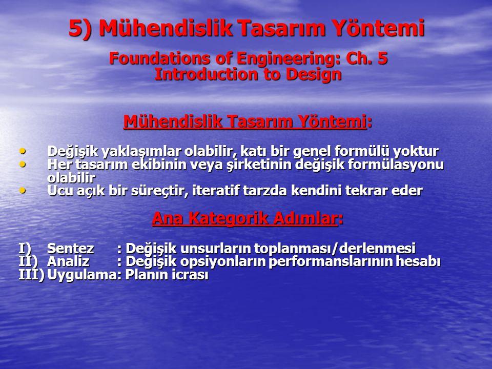 5) Mühendislik Tasarım Yöntemi