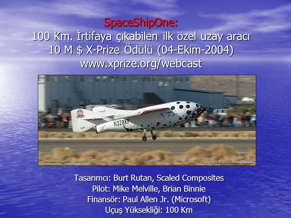 SpaceShipOne: 100 Km. İrtifaya çıkabilen ilk özel uzay aracı 10 M $ X-Prize Ödülü (04-Ekim-2004) www.xprize.org/webcast