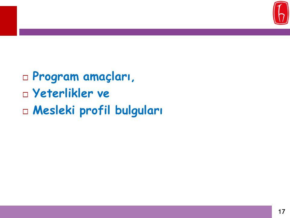 Program amaçları, Yeterlikler ve Mesleki profil bulguları