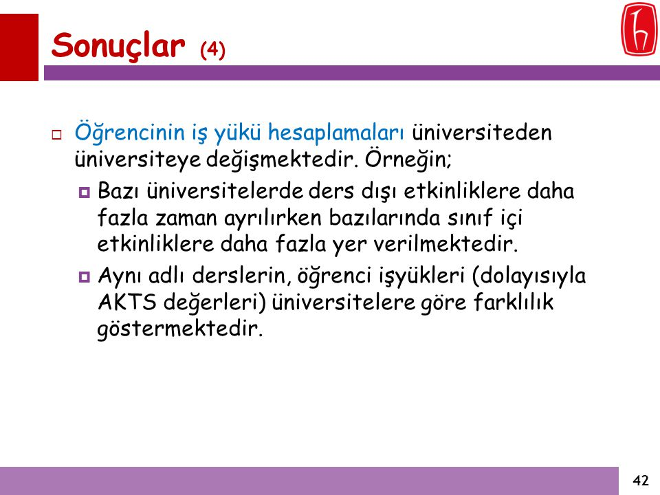 Sonuçlar (4) Öğrencinin iş yükü hesaplamaları üniversiteden üniversiteye değişmektedir. Örneğin;