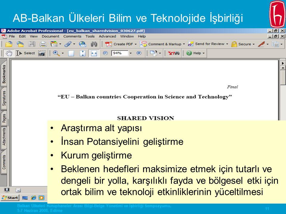 AB-Balkan Ülkeleri Bilim ve Teknolojide İşbirliği