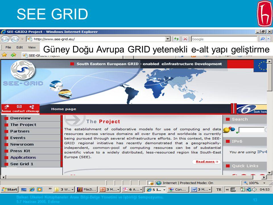 Güney Doğu Avrupa GRID yetenekli e-alt yapı geliştirme
