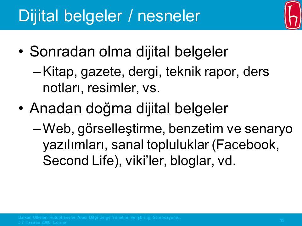 Dijital belgeler / nesneler