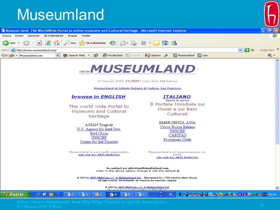 Museumland Balkan Ülkeleri Kütüphaneler Arası Bilgi-Belge Yönetimi ve İşbirliği Sempozyumu, 5-7 Haziran 2008, Edirne.