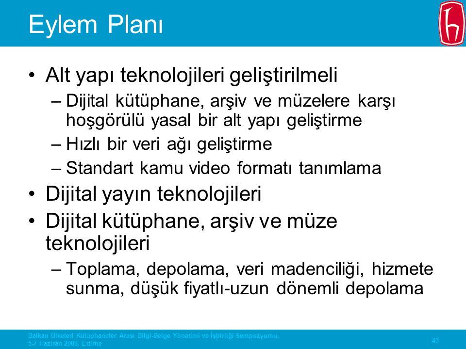 Eylem Planı Alt yapı teknolojileri geliştirilmeli