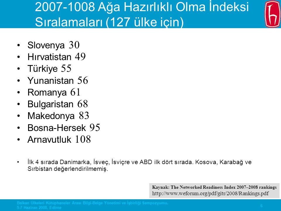2007-1008 Ağa Hazırlıklı Olma İndeksi Sıralamaları (127 ülke için)