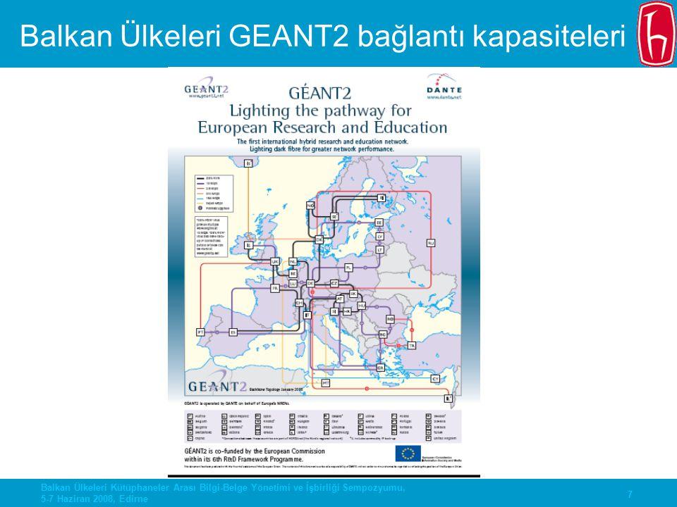 Balkan Ülkeleri GEANT2 bağlantı kapasiteleri