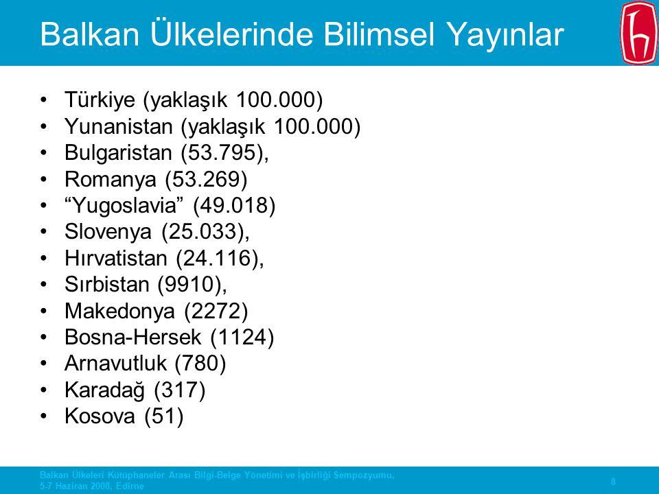 Balkan Ülkelerinde Bilimsel Yayınlar