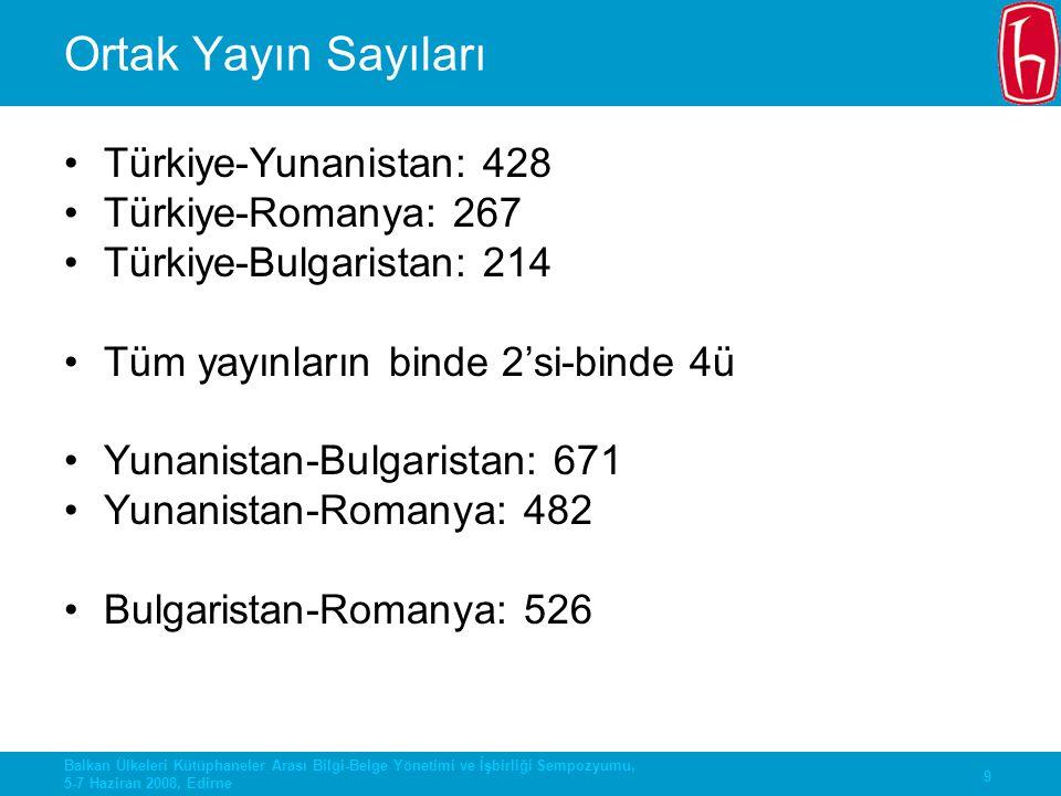 Ortak Yayın Sayıları Türkiye-Yunanistan: 428 Türkiye-Romanya: 267