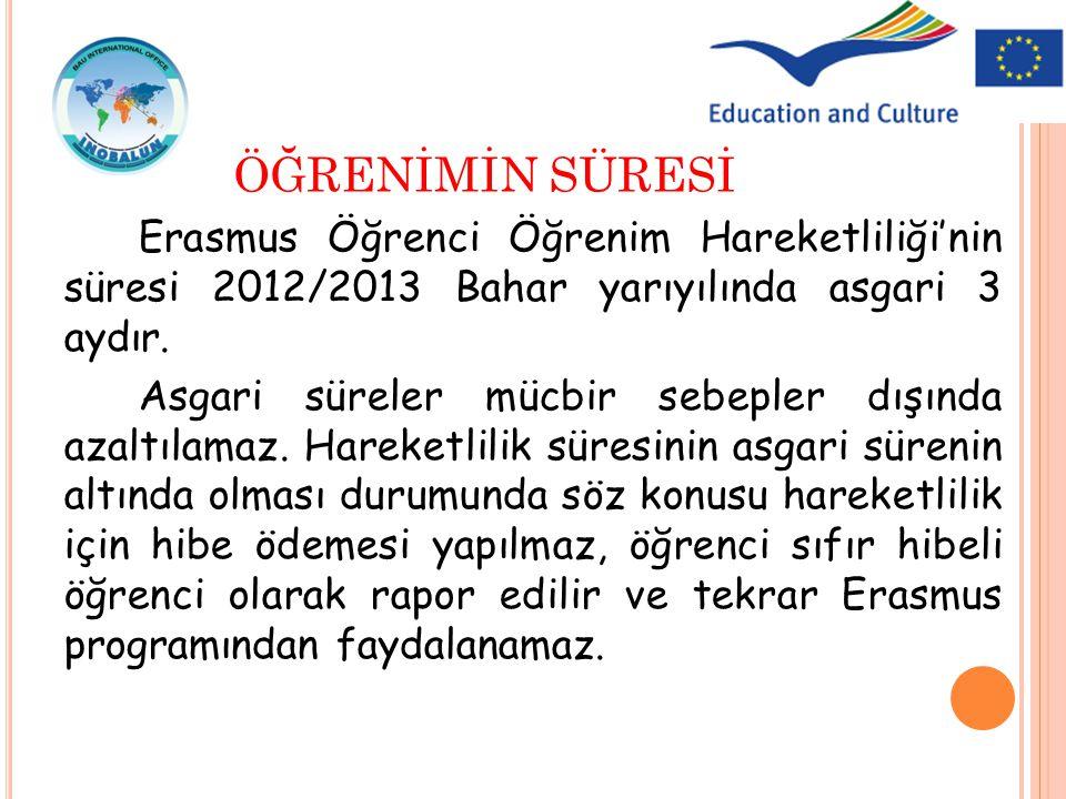 ÖĞRENİMİN SÜRESİ Erasmus Öğrenci Öğrenim Hareketliliği'nin süresi 2012/2013 Bahar yarıyılında asgari 3 aydır.