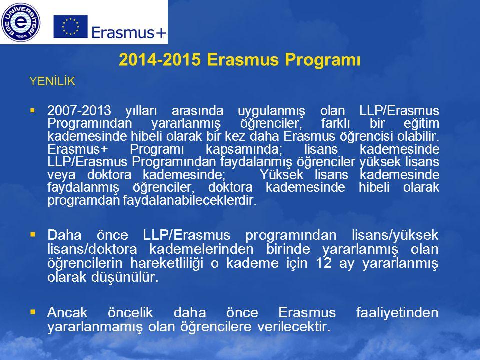 2014-2015 Erasmus Programı YENİLİK.