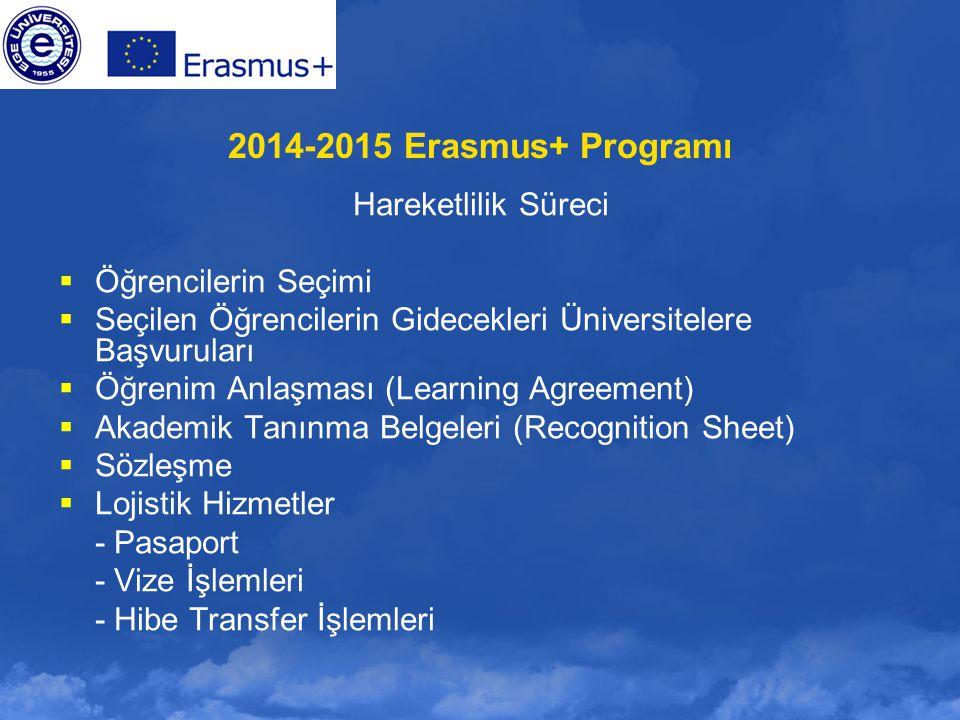 2014-2015 Erasmus+ Programı Hareketlilik Süreci Öğrencilerin Seçimi