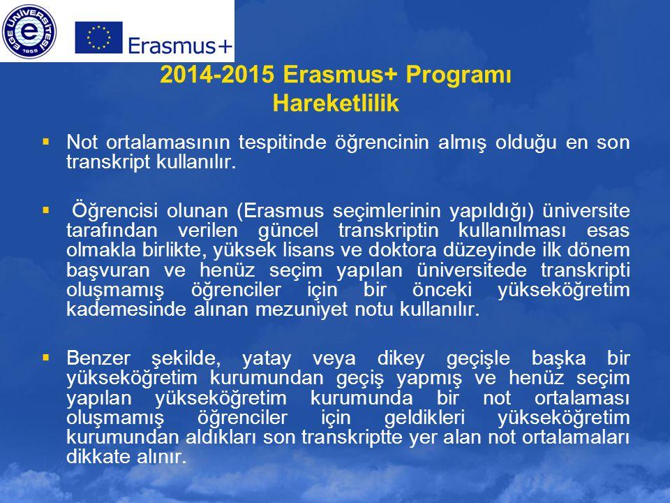 2014-2015 Erasmus+ Programı Hareketlilik