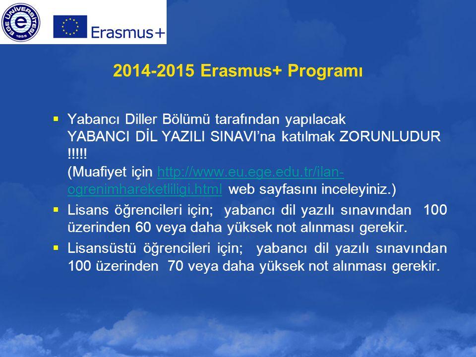 2014-2015 Erasmus+ Programı