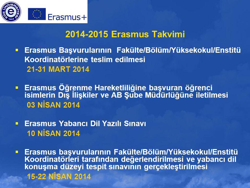 2014-2015 Erasmus Takvimi Erasmus Başvurularının Fakülte/Bölüm/Yüksekokul/Enstitü. Koordinatörlerine teslim edilmesi.