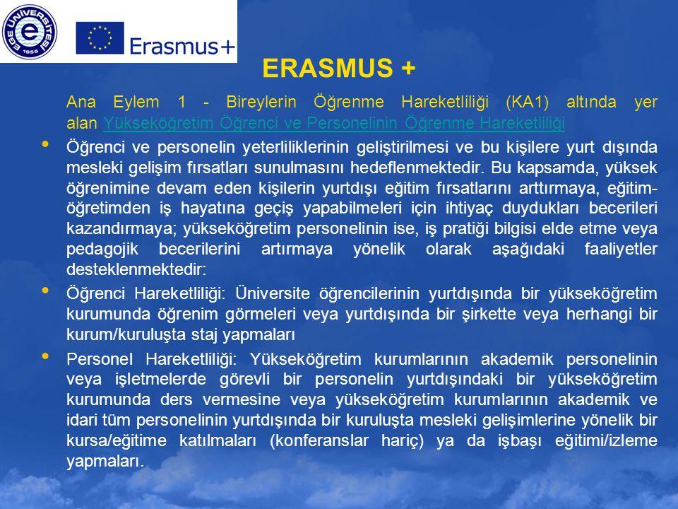 ERASMUS + Ana Eylem 1 - Bireylerin Öğrenme Hareketliliği (KA1) altında yer alan Yükseköğretim Öğrenci ve Personelinin Öğrenme Hareketliliği.