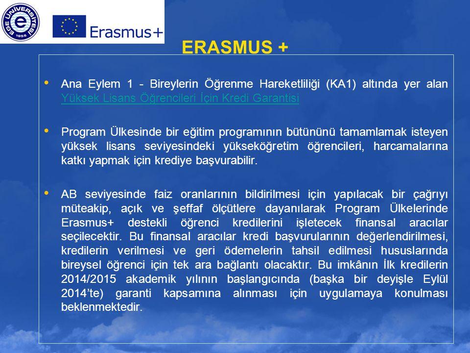 ERASMUS + Ana Eylem 1 - Bireylerin Öğrenme Hareketliliği (KA1) altında yer alan Yüksek Lisans Öğrencileri İçin Kredi Garantisi.