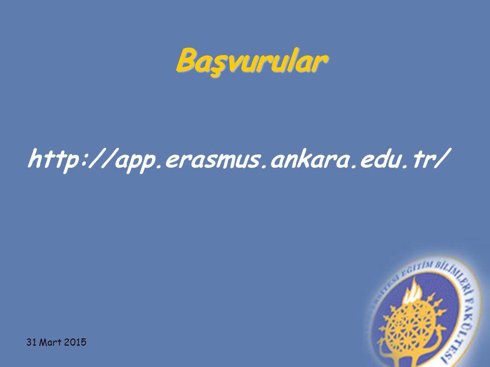 Başvurular http://app.erasmus.ankara.edu.tr/ 9 Nisan 2017