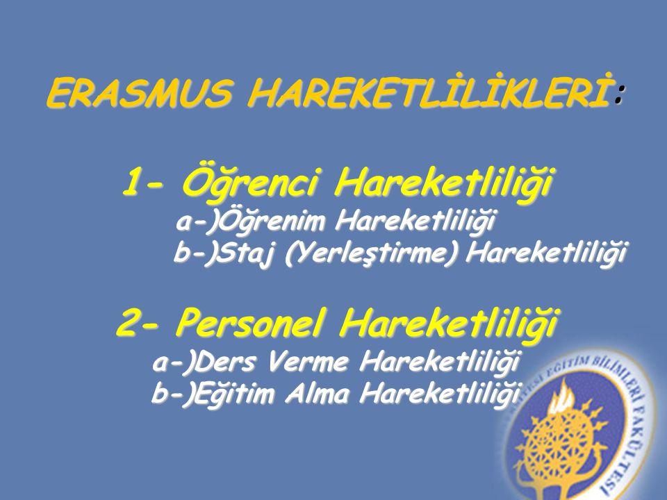 ERASMUS HAREKETLİLİKLERİ: 1- Öğrenci Hareketliliği a-)Öğrenim Hareketliliği b-)Staj (Yerleştirme) Hareketliliği 2- Personel Hareketliliği a-)Ders Verme Hareketliliği b-)Eğitim Alma Hareketliliği