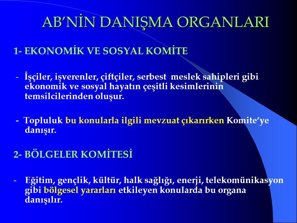 AB'NİN DANIŞMA ORGANLARI