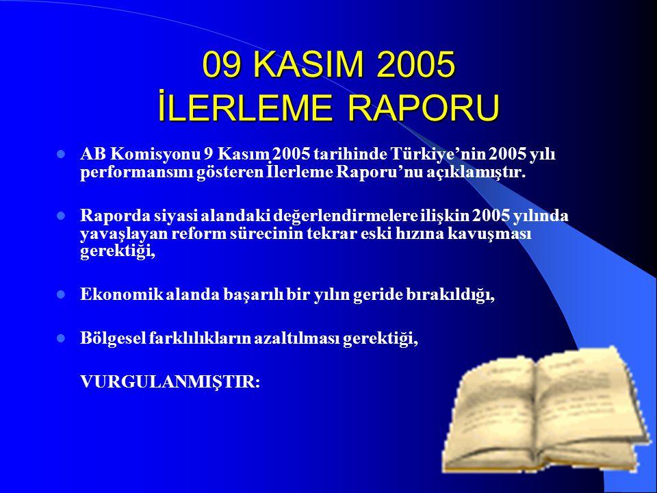 09 KASIM 2005 İLERLEME RAPORU AB Komisyonu 9 Kasım 2005 tarihinde Türkiye'nin 2005 yılı performansını gösteren İlerleme Raporu'nu açıklamıştır.