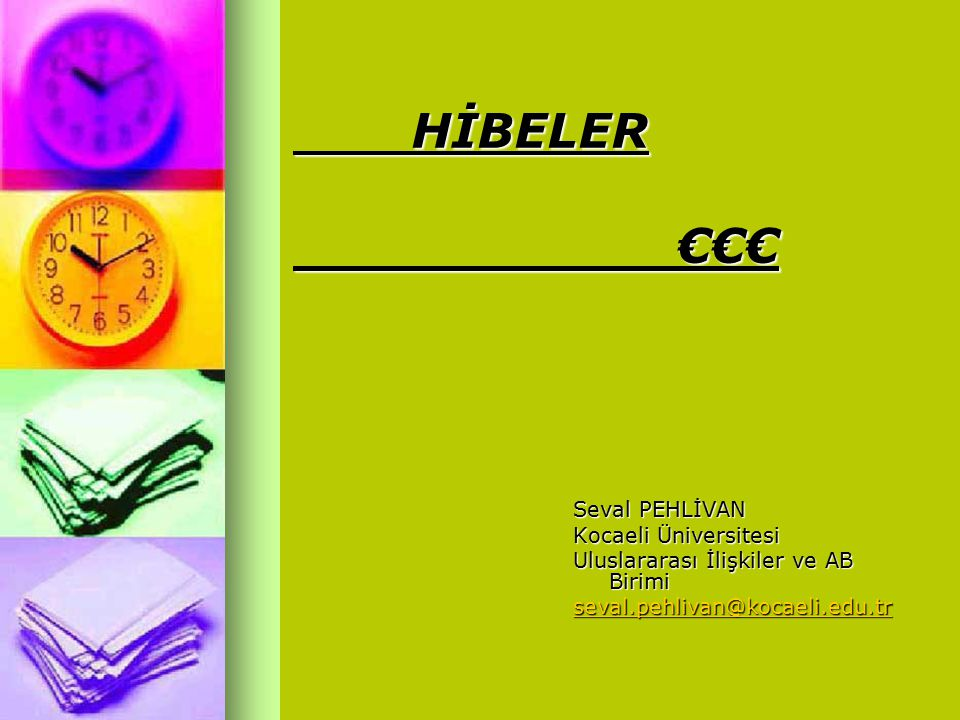 HİBELER €€€ Seval PEHLİVAN Kocaeli Üniversitesi