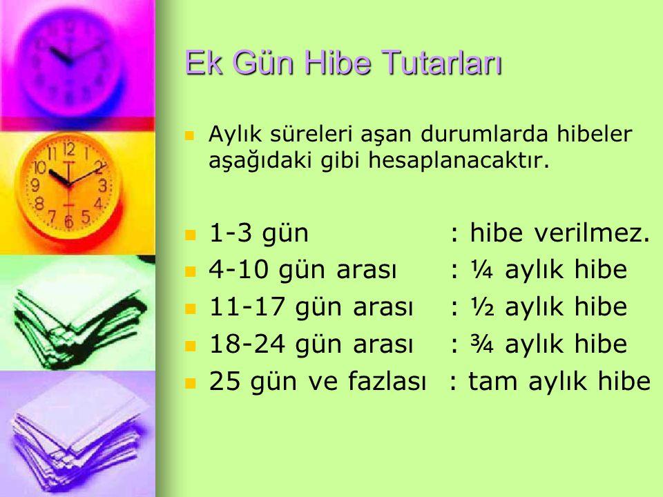 Ek Gün Hibe Tutarları 1-3 gün : hibe verilmez.