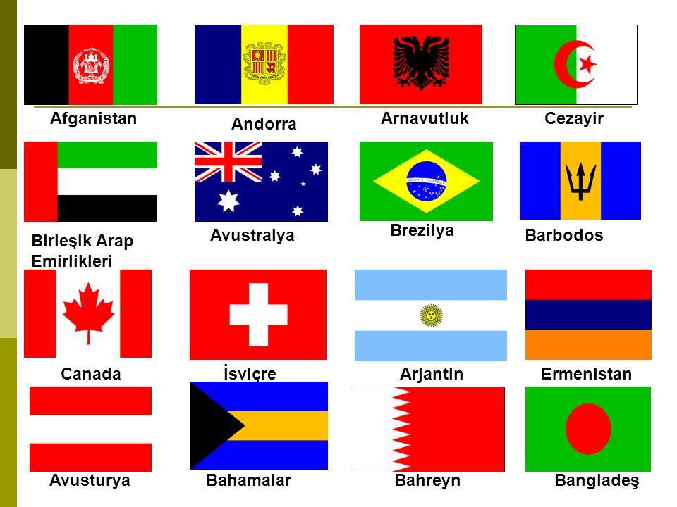 Afganistan Arnavutluk. Cezayir. Andorra. Brezilya. Avustralya. Barbodos. Birleşik Arap Emirlikleri.