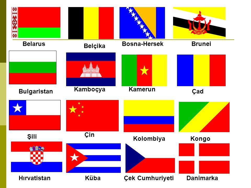 Belarus Bosna-Hersek. Brunei. Belçika. Kamboçya. Kamerun. Bulgaristan. Çad. Çin. Şili. Kolombiya.