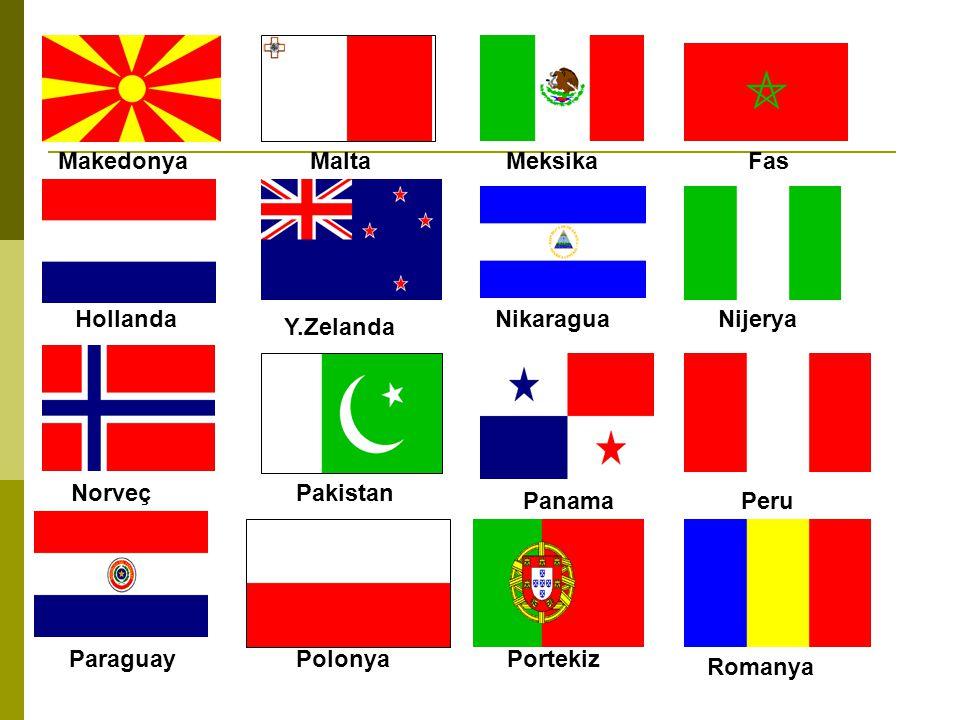 Makedonya Malta. Meksika. Fas. Hollanda. Nikaragua. Nijerya. Y.Zelanda. Norveç. Pakistan. Panama.