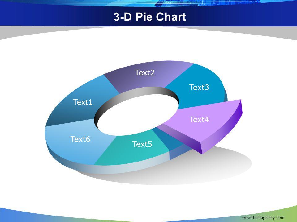 3-D Pie Chart Text1 Text2 Text3 Text4 Text5 Text6 www.themegallery.com