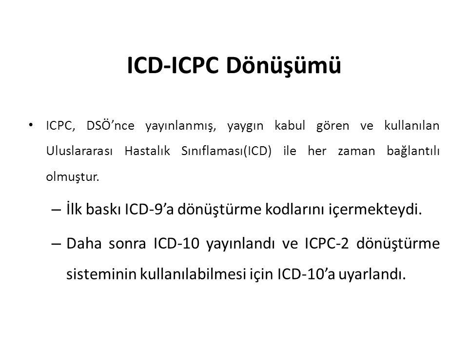 ICD-ICPC Dönüşümü İlk baskı ICD-9'a dönüştürme kodlarını içermekteydi.