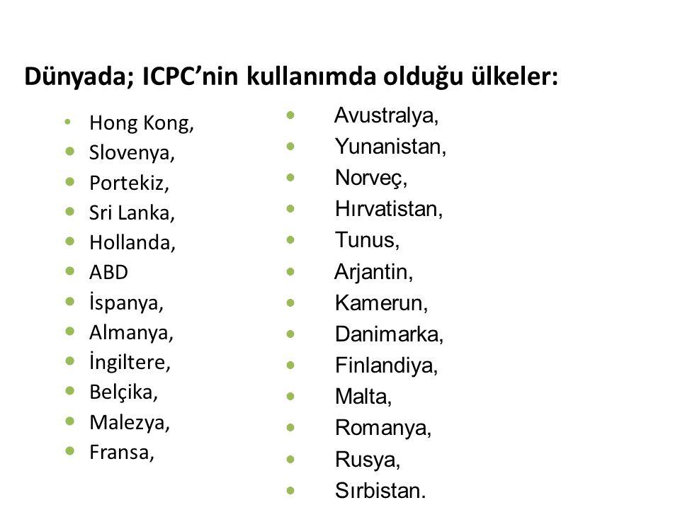 Dünyada; ICPC'nin kullanımda olduğu ülkeler: