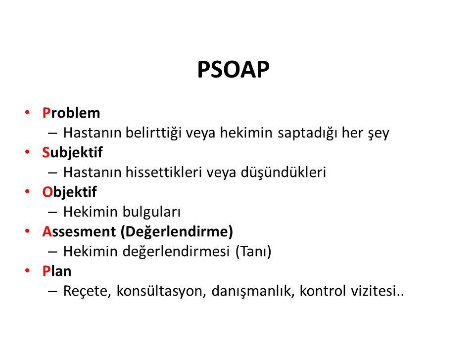 PSOAP Problem Hastanın belirttiği veya hekimin saptadığı her şey
